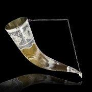 Элитный серебряный рог Кубачи с пиалой №8 (подарочный, питьевой)