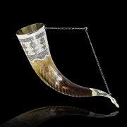 Элитный серебряный рог Кубачи с пиалой №11 (подарочный, питьевой)