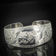 Серебряный кубачинский браслет белый №7