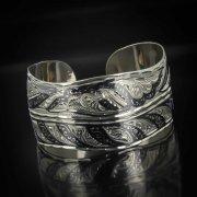 Серебряный кубачинский браслет с чернением арт.501