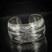 Серебряный кубачинский браслет комбинированный №16