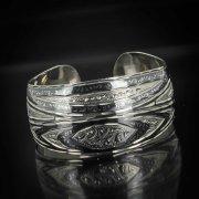 Серебряный кубачинский браслет комбинированный №15