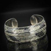 Серебряный кубачинский браслет комбинированный №12