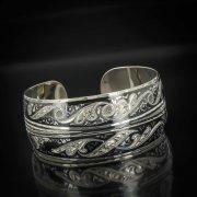 Серебряный кубачинский браслет комбинированный №11