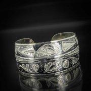 Серебряный кубачинский браслет комбинированный №10