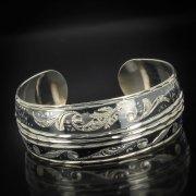 Серебряный кубачинский браслет с чернением арт.513