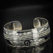 Серебряный кубачинский браслет комбинированный №5