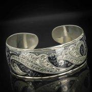 Серебряный кубачинский браслет с чернением арт.519