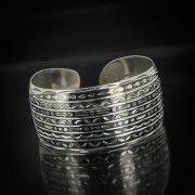 Серебряный кубачинский браслет очень широкий №4