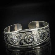 Серебряный кубачинский браслет широкий №14