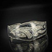 Серебряный кубачинский браслет с чернением арт.557