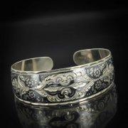 Серебряный кубачинский браслет с чернением арт.570