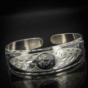 Серебряный кубачинский браслет с чернением арт.573