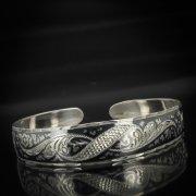 Серебряный кубачинский браслет с чернением арт.598