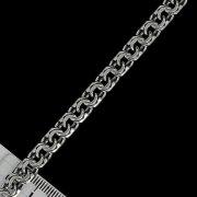 """Кубачинская серебряная цепь ручной работы """"Бисмарк"""" оксидированная 65 см (ширина 0,7 см) арт.2617"""