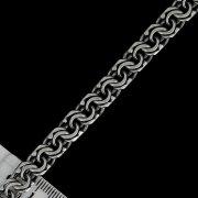 """Кубачинский серебряный браслет ручной работы """"Бисмарк"""" оксидированный 20 см (ширина 1 см) арт.2632"""