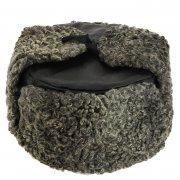Мужская каракулевая шапка-ушанка ручной работы (сорт - валек) арт.8367
