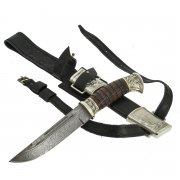 Нож пластунский Витязь (сталь - дамасская, худож. оформление, рукоять - венге) арт.9105